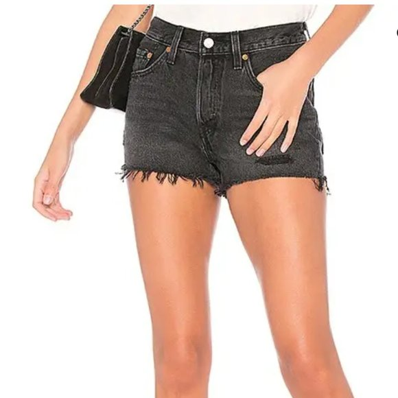 Levi's 501 cut off shorts in trashed black